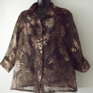 Tan Jay Petites Brown Sheer Tropical Design Shirt